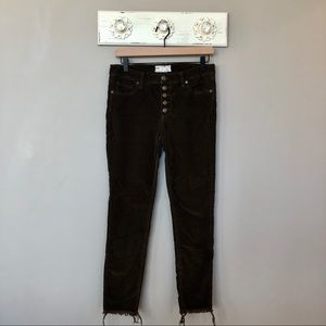 Free People | Button Fly Raw Hem Skinny Jeans